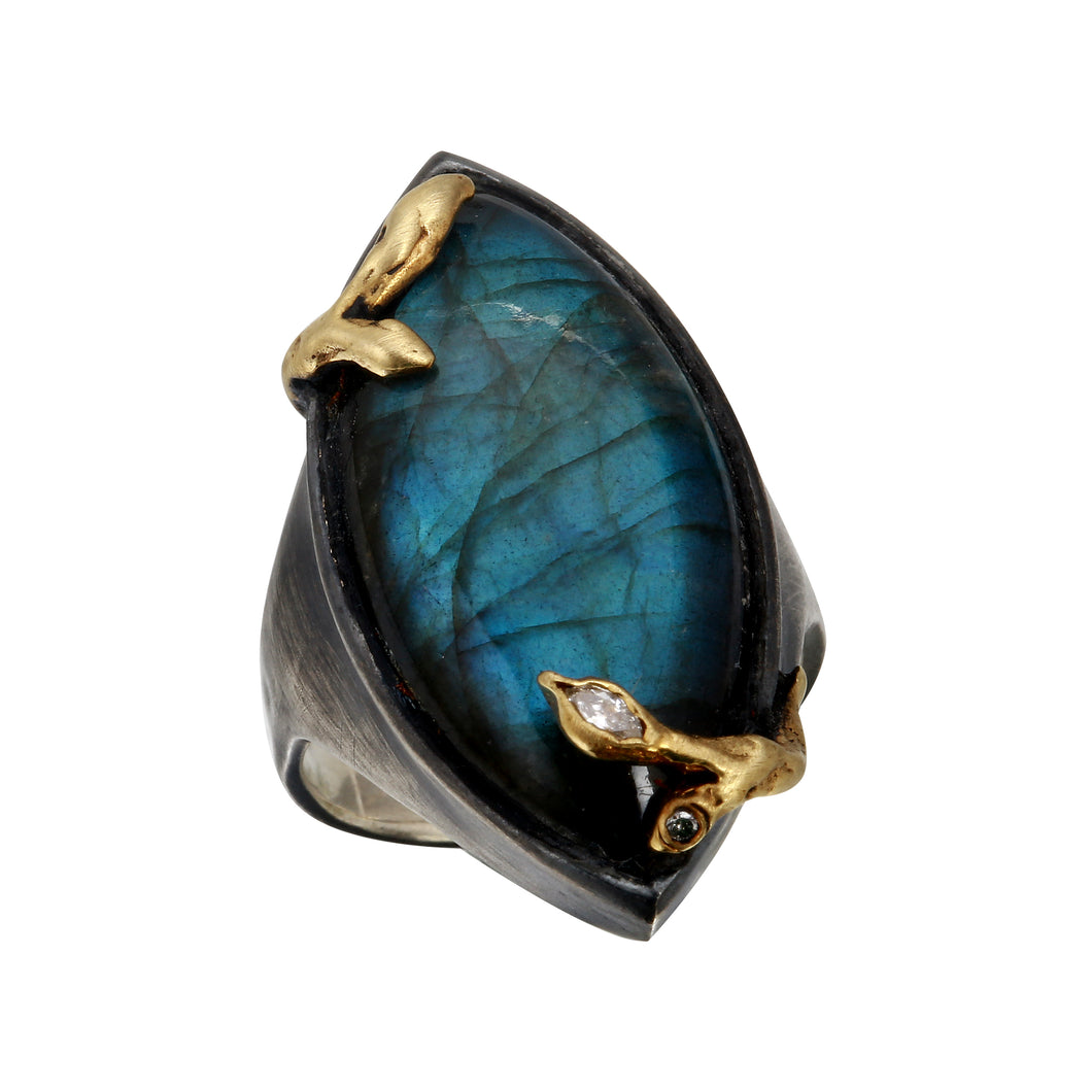Ocean Drop Labradorite w/ Diamonds set unto Gold.