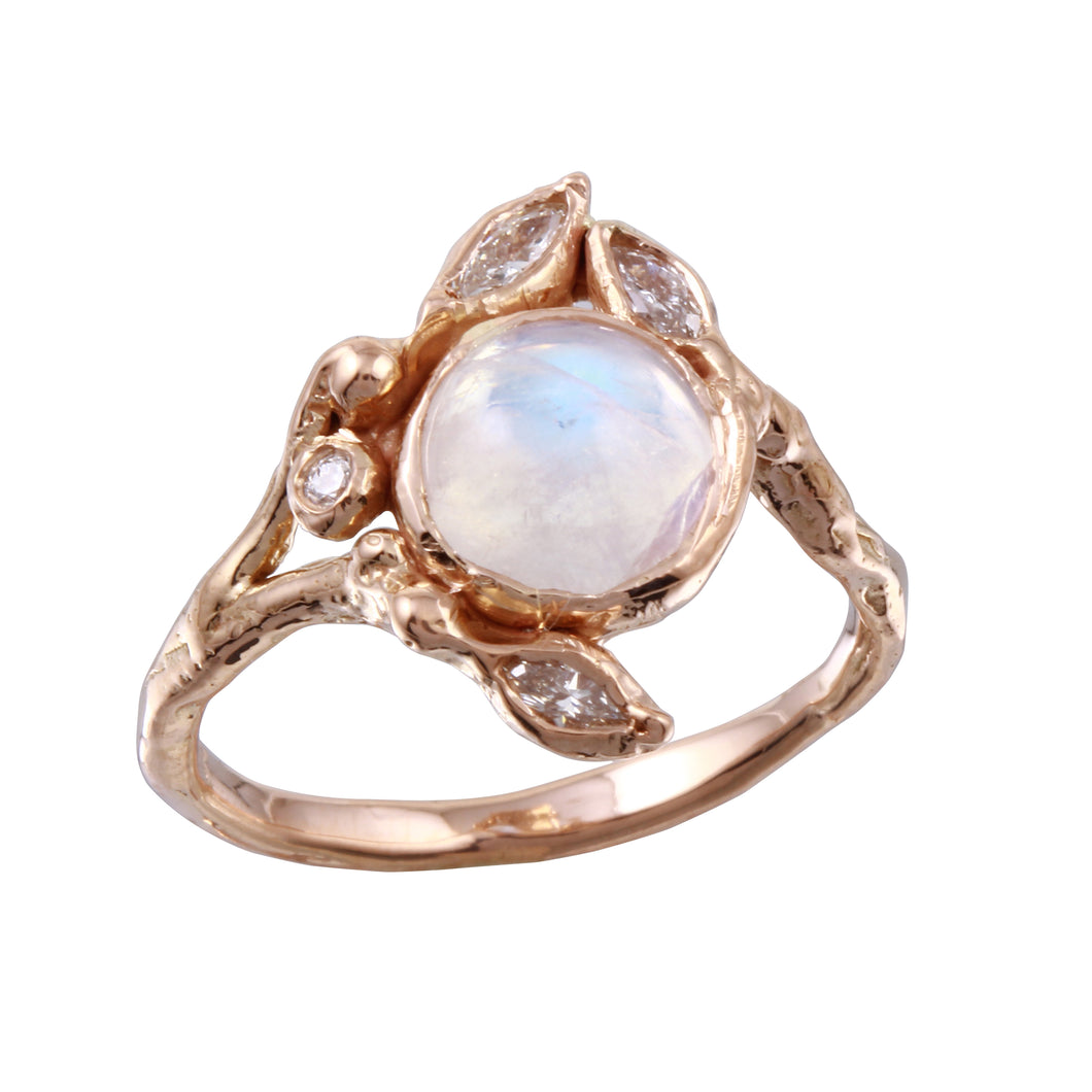 Round Moonstone & Marquise Diamond Ring