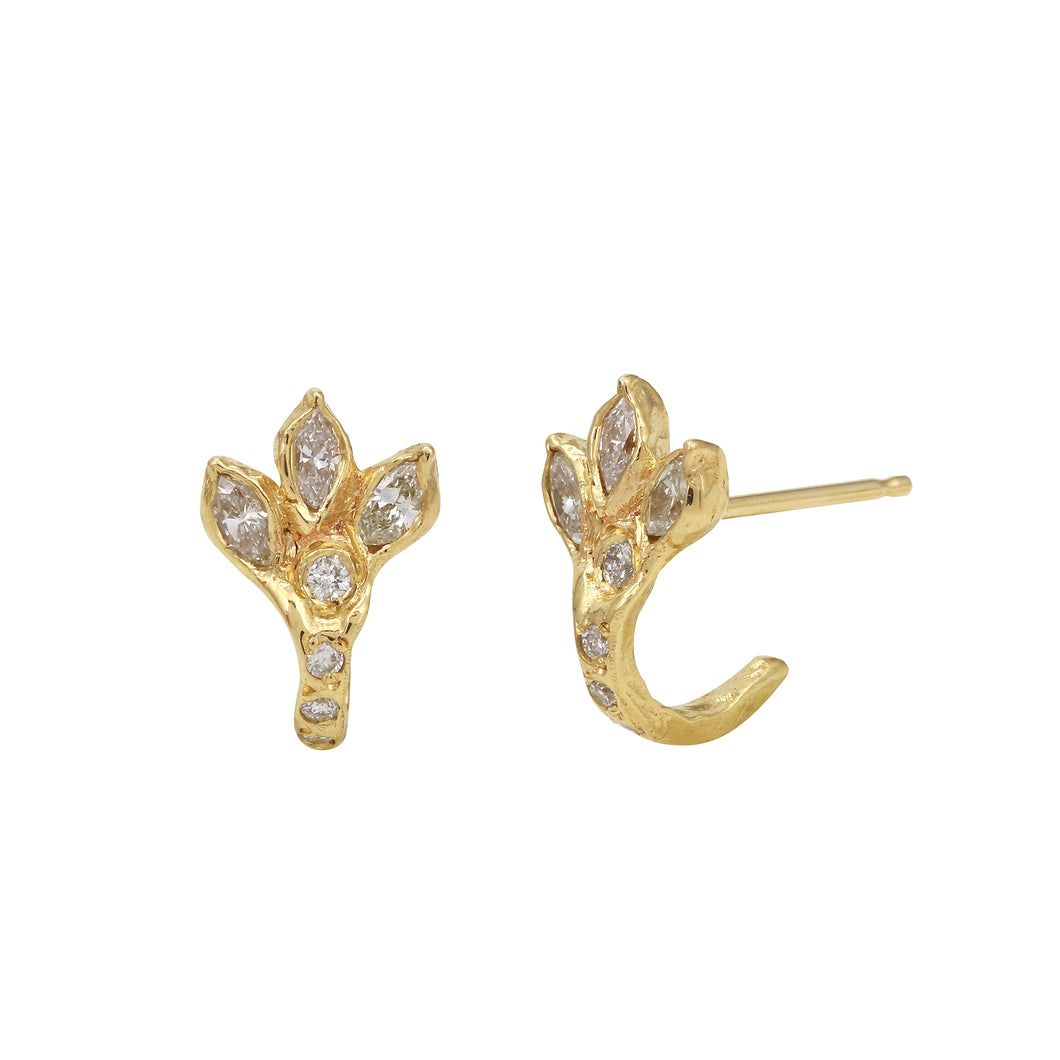 Dragon Claw Diamond Pavé Hoop Stud