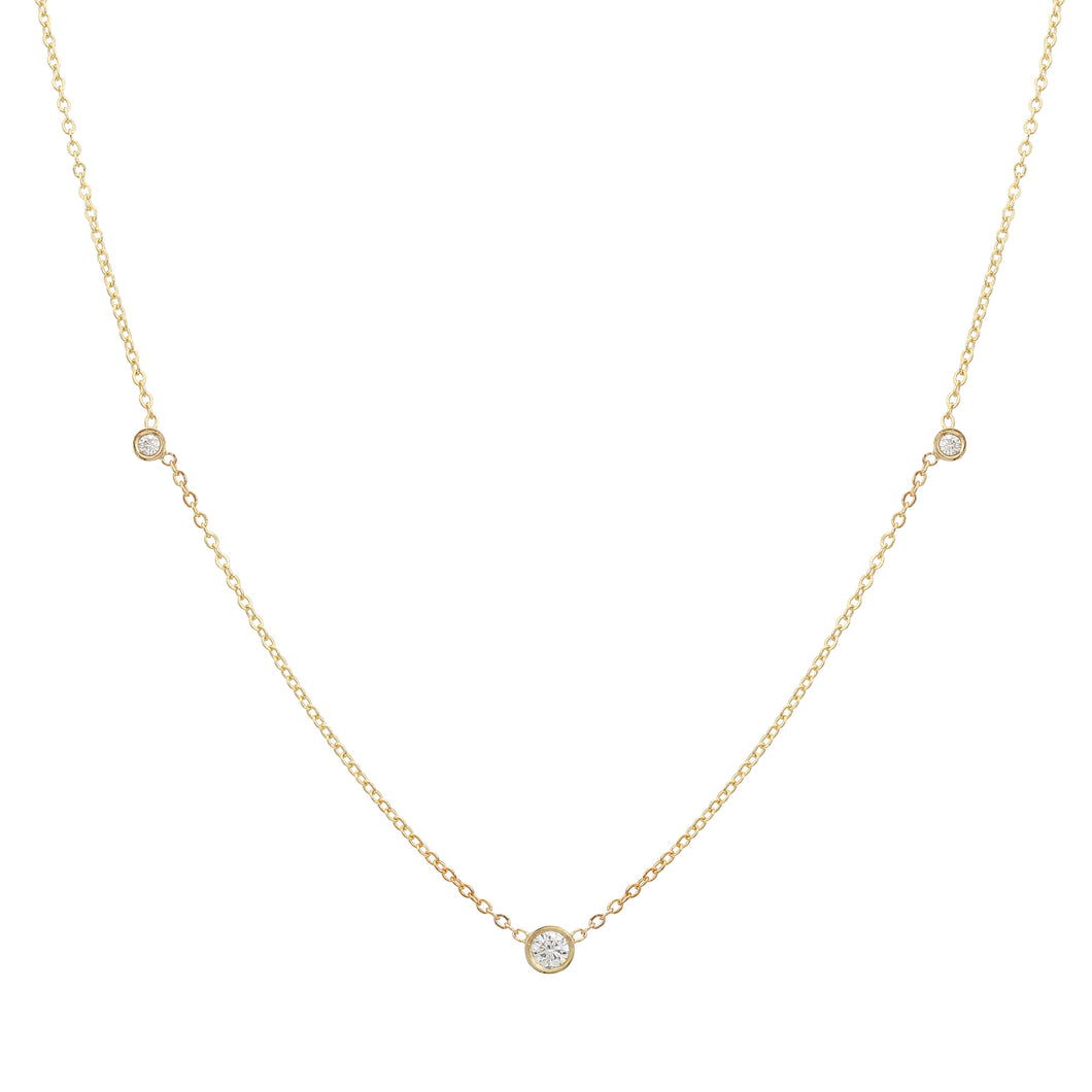 Triple Diamond Collar Necklace