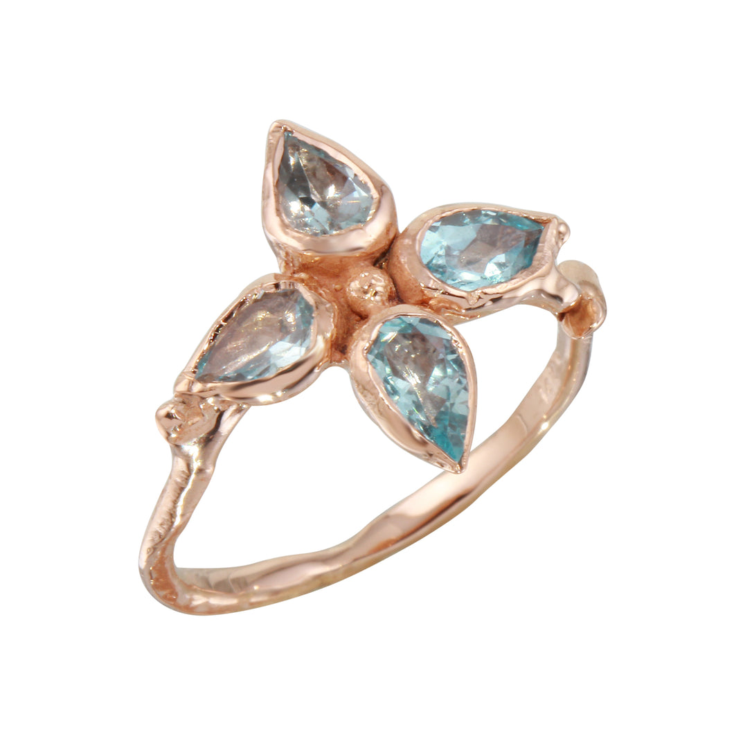 Four Leaf Aquamarine Ring
