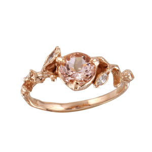Peach Morganite w/ Diamond Leaves Ring