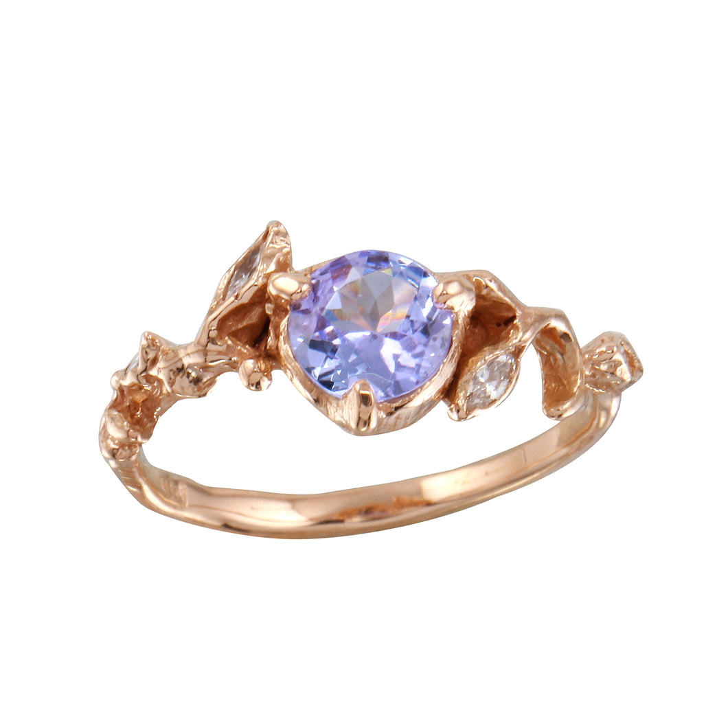 Violet Tanzanite w/ Diamond Leaves Ring