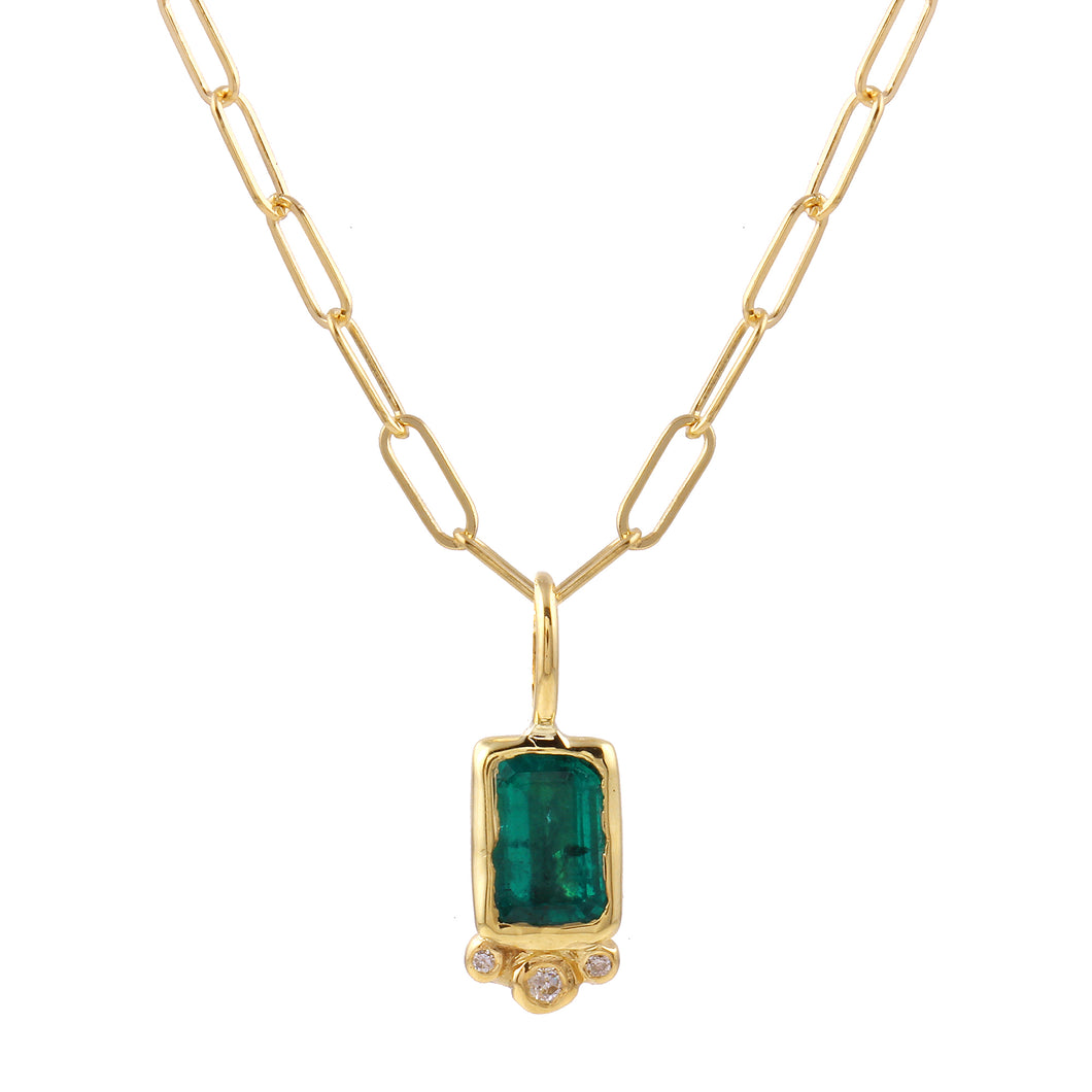 Rectangle Emerald & Diamond Necklace