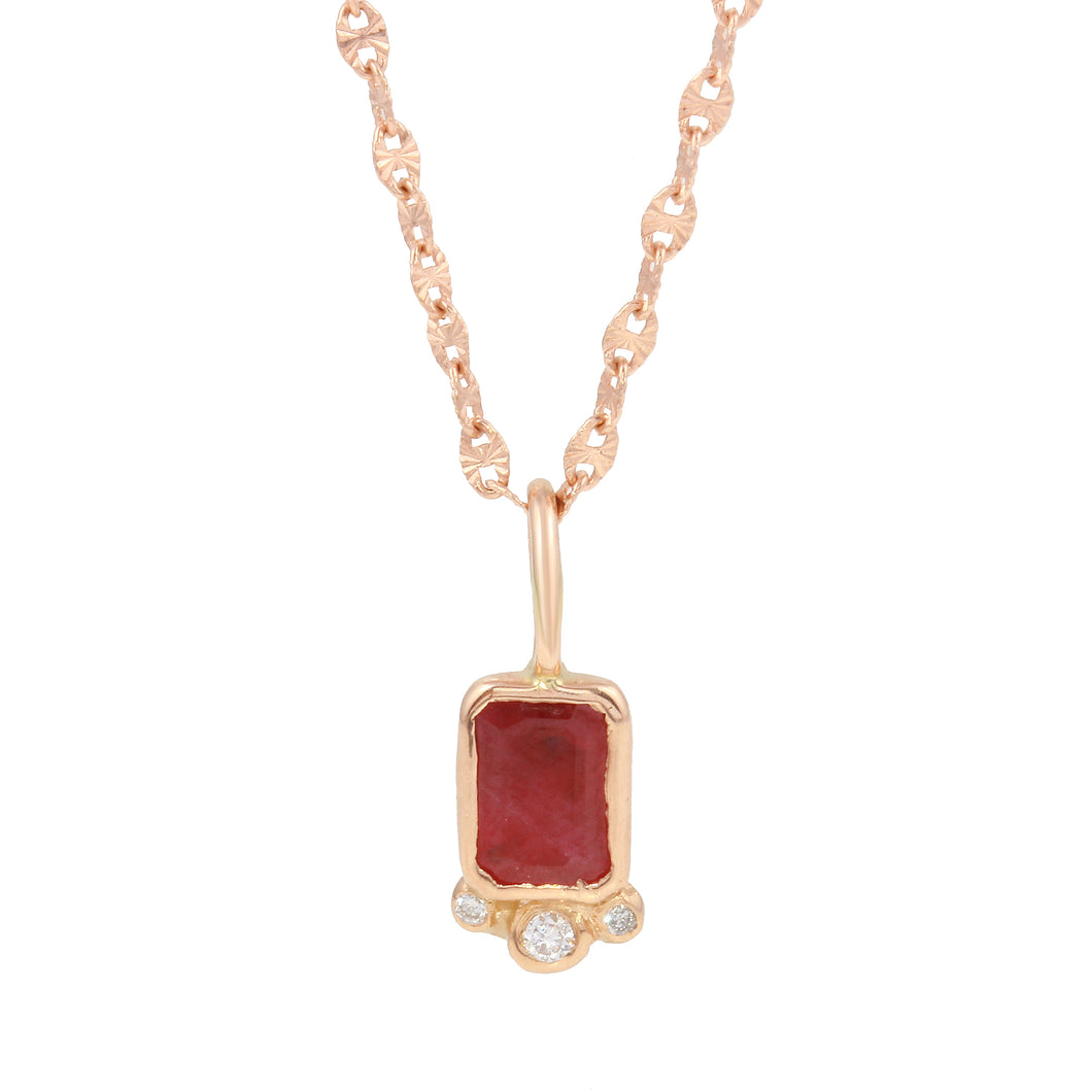 Rectangle Ruby w/ Triple Diamond Necklace