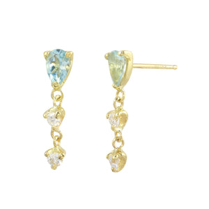 Pear Aquamarine & Diamond Drops