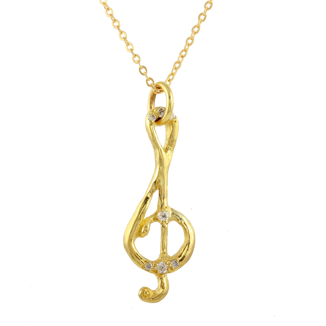 Treble Clef Diamond Pavé Necklace