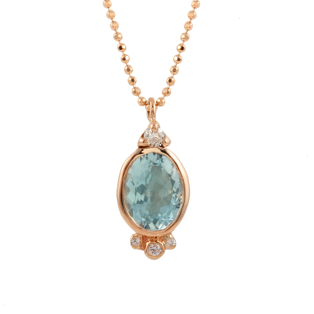 Oval Aquamarine w/ Diamond accents Necklace.