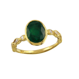 Oval Emerald on Marquise & Round Diamond Band