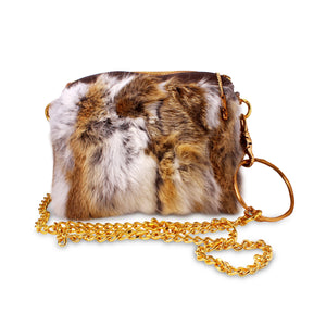 Rabbit Fur Clutch w/ Bronze Bangle