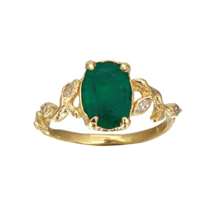 Oval Emerald Ring w/ Diamond Leaves