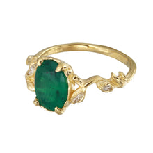 Load image into Gallery viewer, Oval Emerald Ring w/ Diamond Leaves