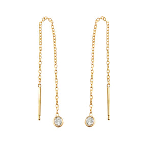 Diamond Bezel Drop Earring
