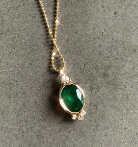 Oval Emerald w/ Diamond Accent Necklace