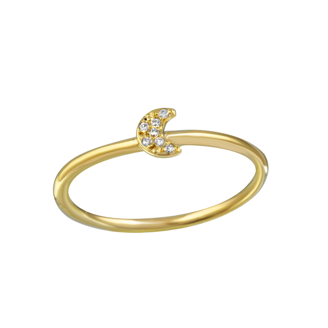 Diamond Pavé Crescent Moon Ring