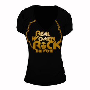 Real Women Rock The Vote | Deep V-Neck Tee