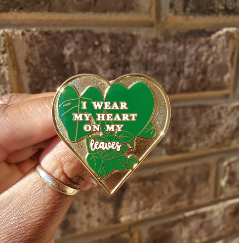 Heart on Leaves Lapel Pin