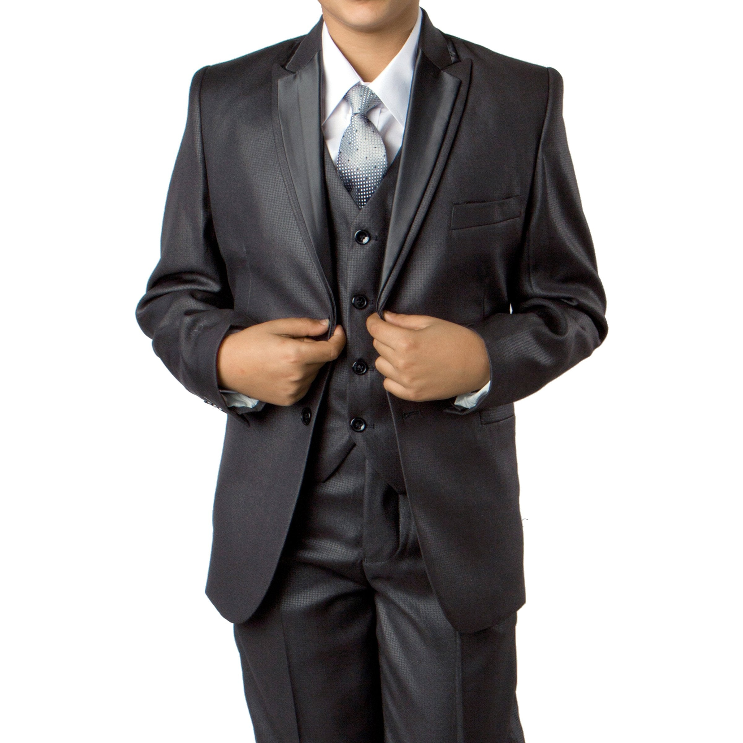 Solid Suit W Satin Trim Jacket Suits For Boy's