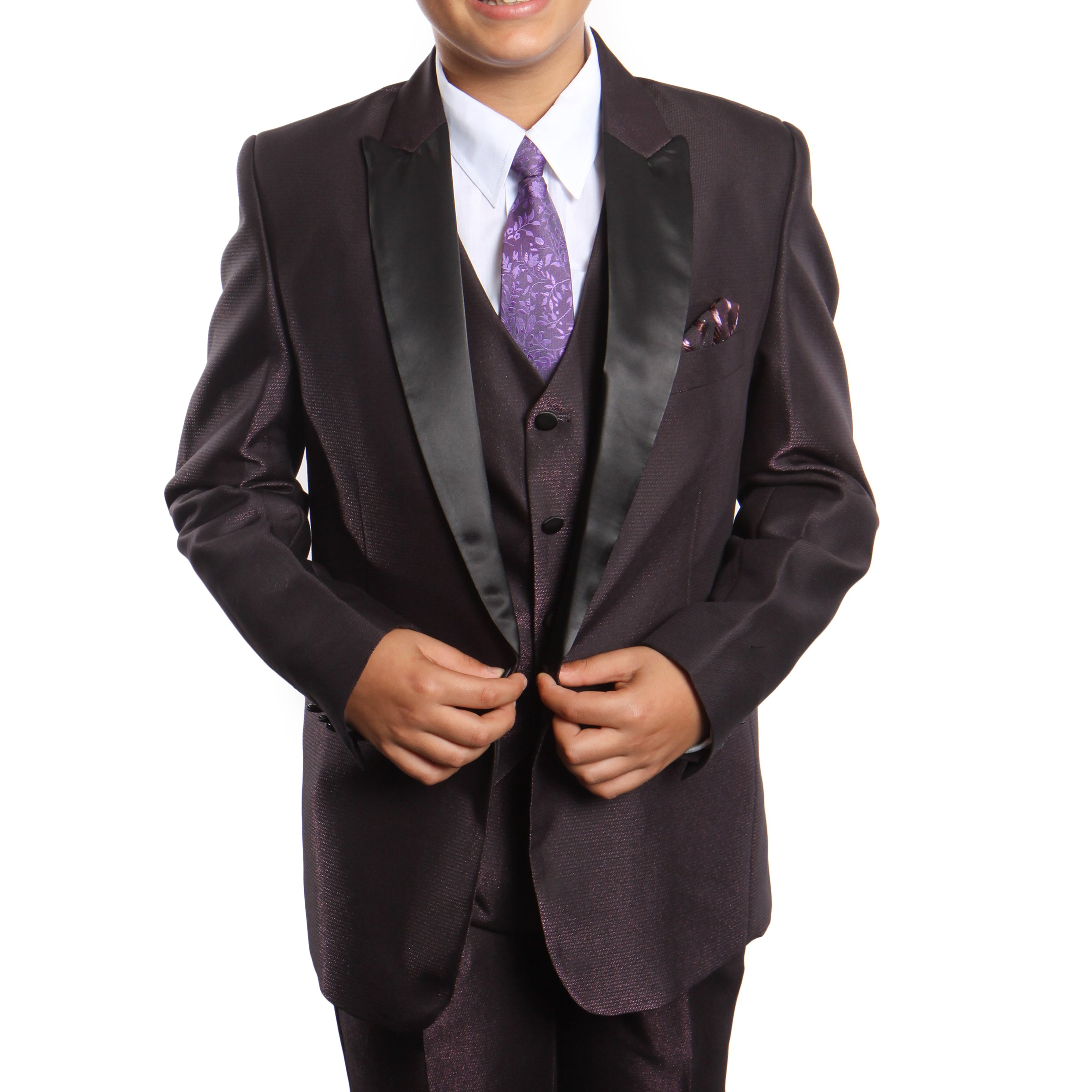 Tazio Plum Formal Suits For Boys