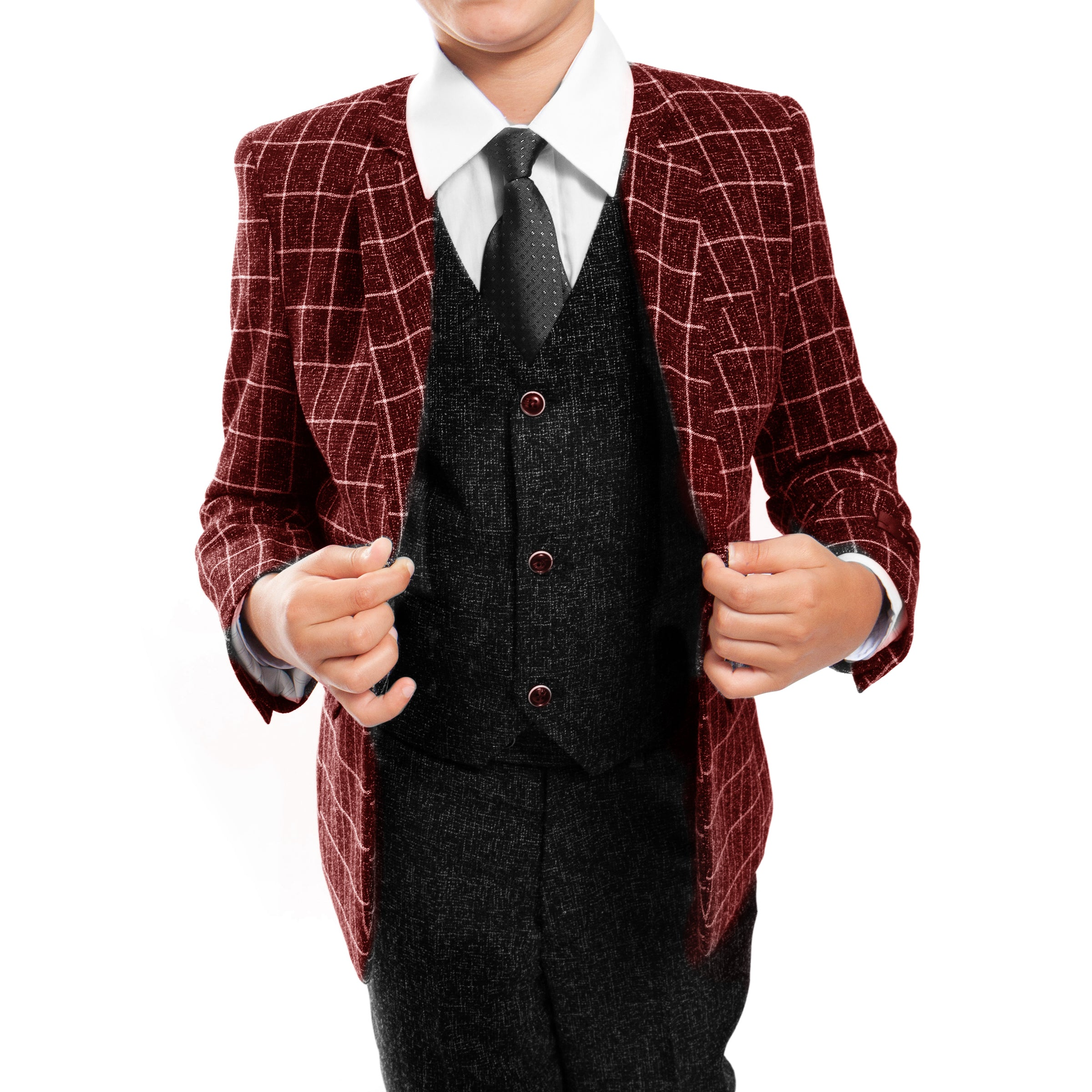 Tazio Red / Black Windowpane Formal Suits For Boys