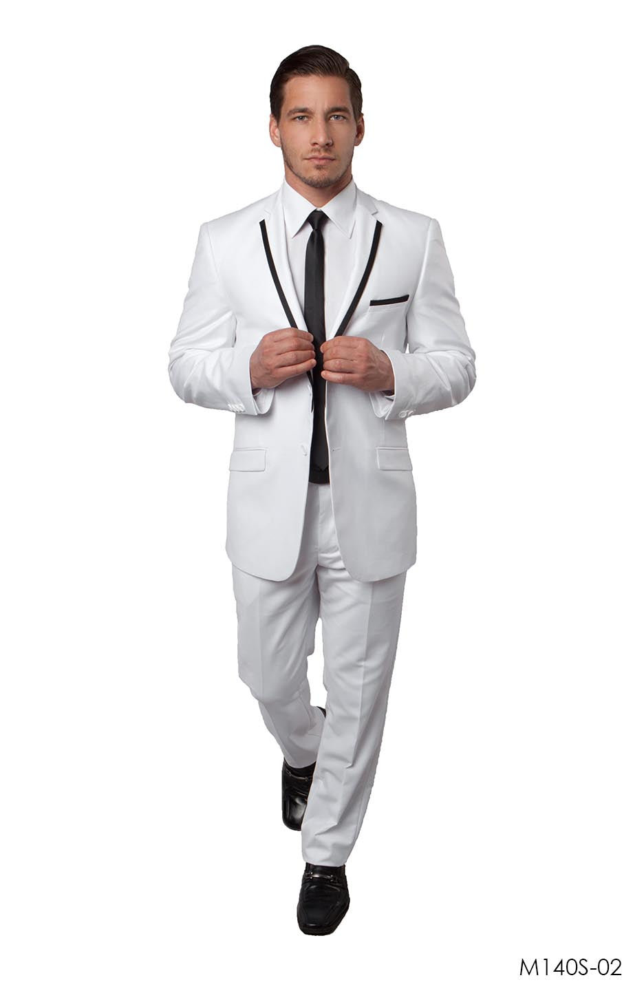 White / Black Suit For Men Formal Suits For All Ocassions M140S-02