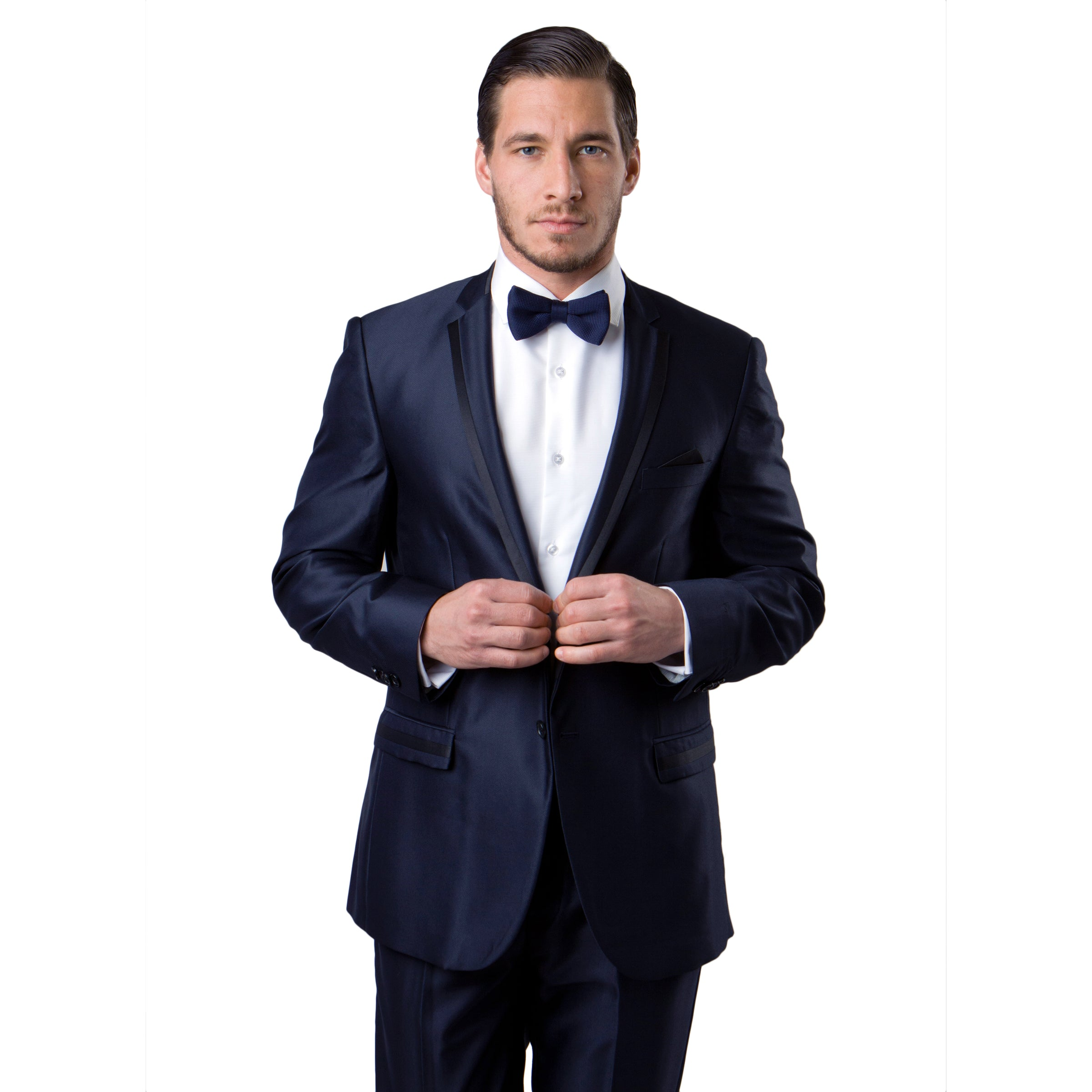 Black / Black Solid Tone on Tone  Satin 2-PC Slim Fit Stretch Suits For Men