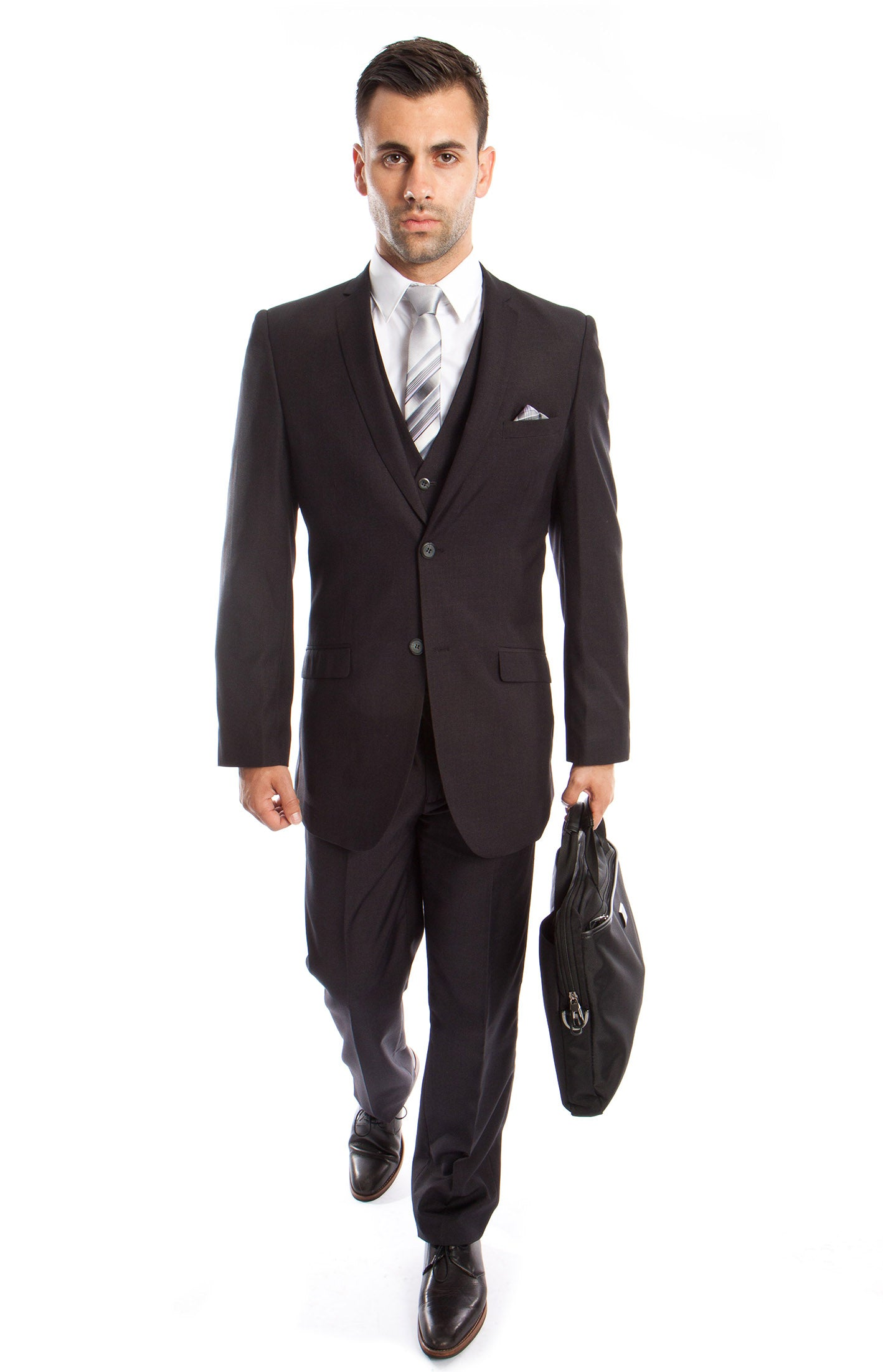 Charcoal Solid 3-PC Slim Fit Stretch Suits For Men