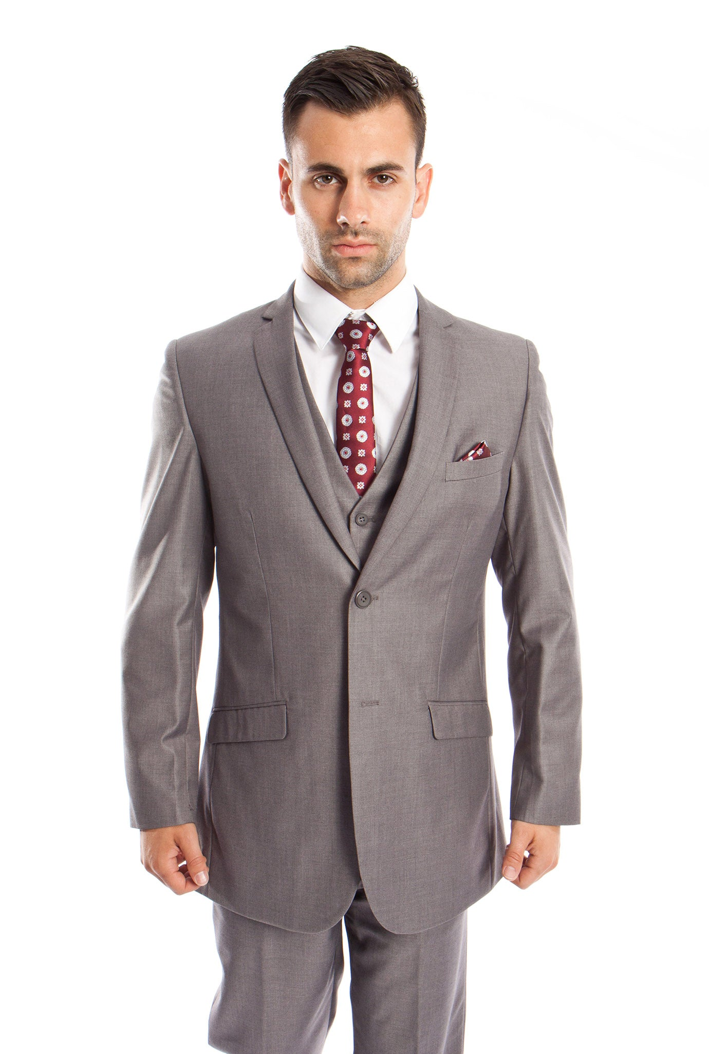 Gray Solid 3-PC Slim Fit Stretch Suits For Men