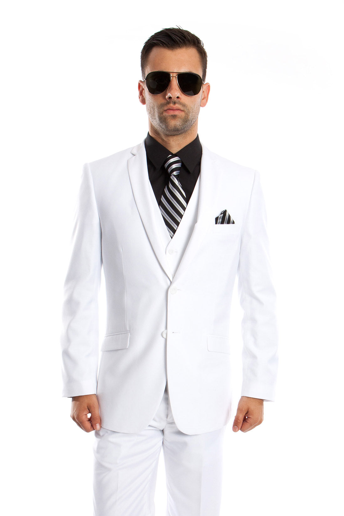 White Solid 3-PC Slim Fit Stretch Suits For Men