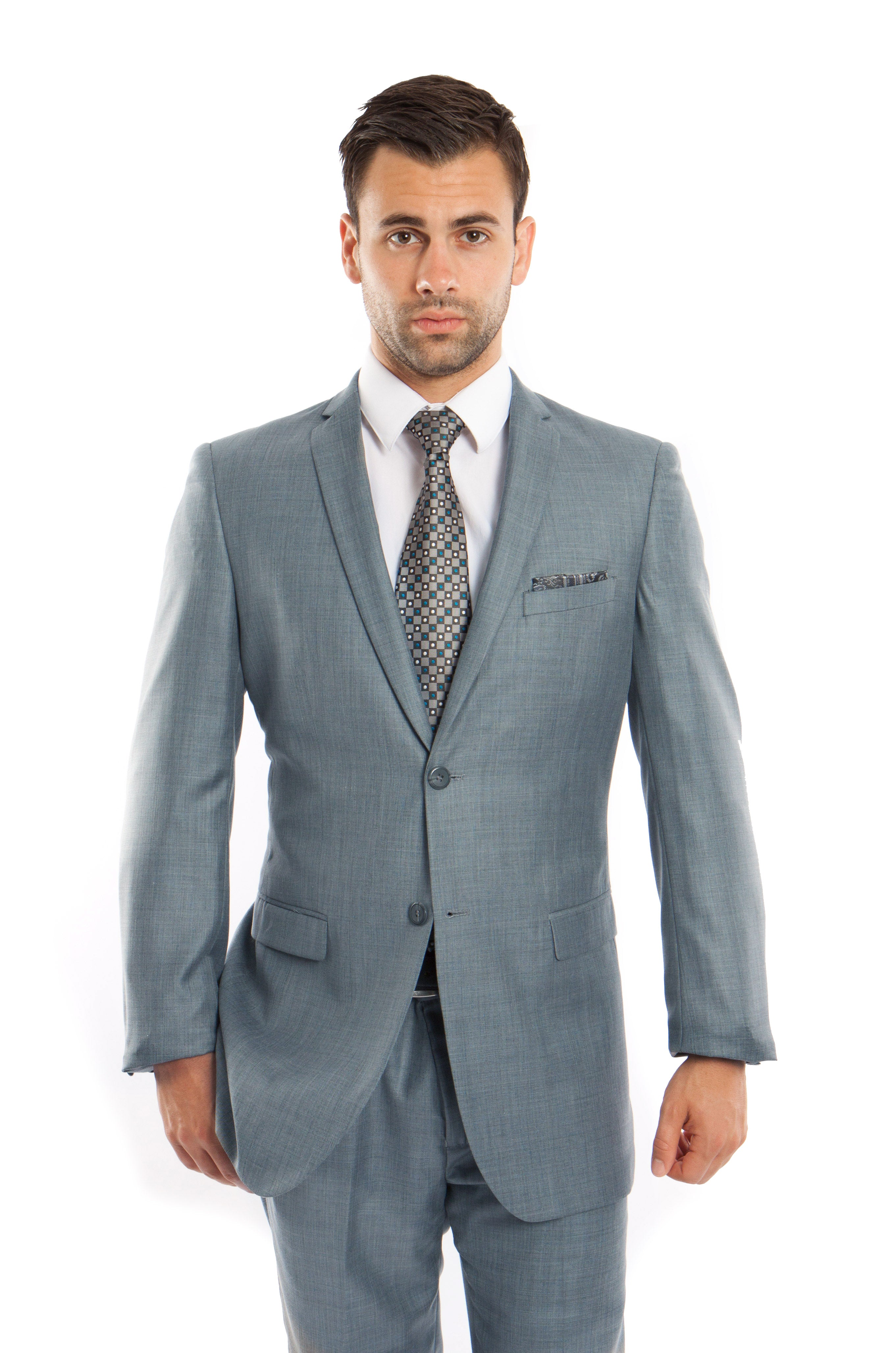 Smoke Blue Solid 2-PC Slim Fit Performance Stretch Suits For Men