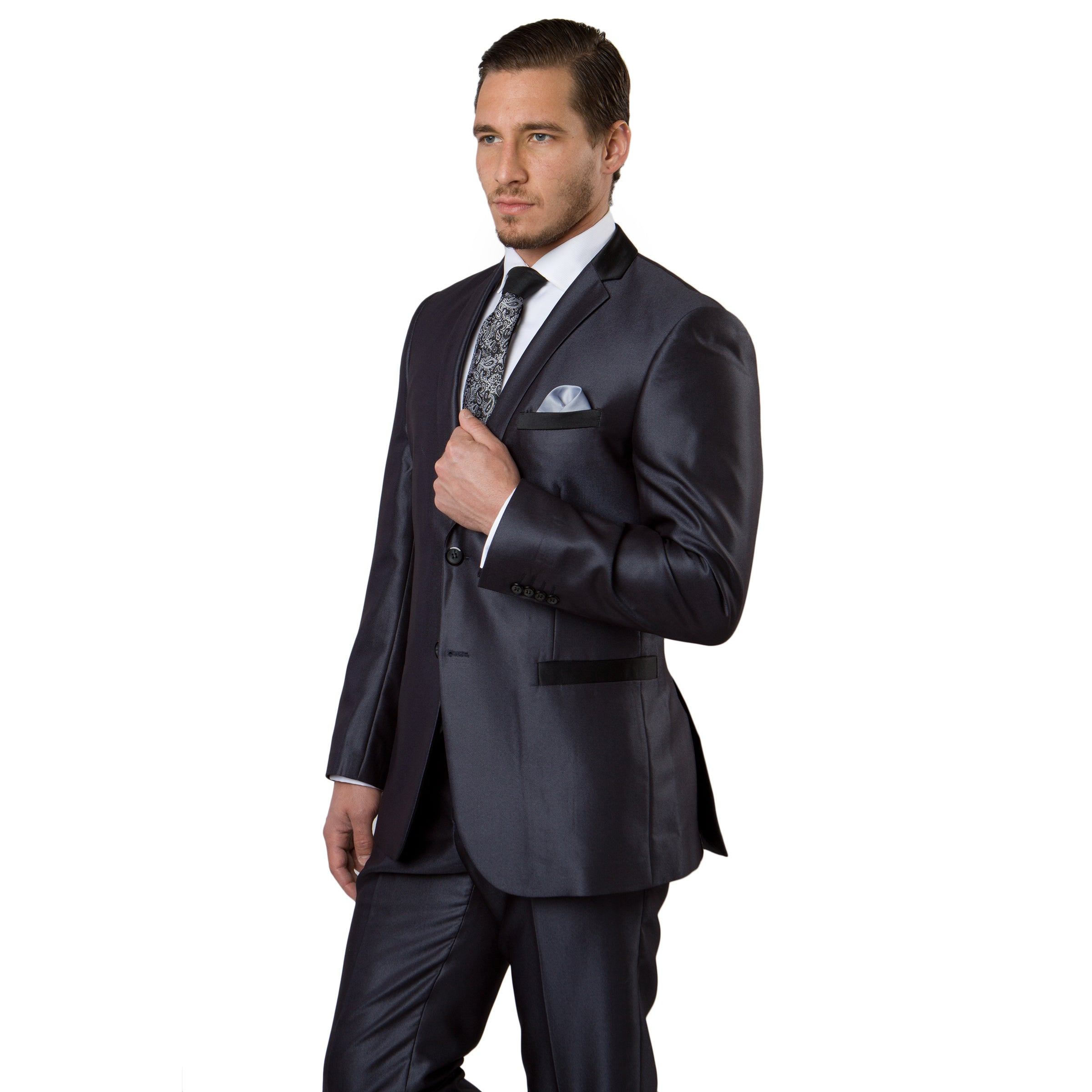 Navy Tone on Tone Shiny 2-PC Slim Fit Suits For Men