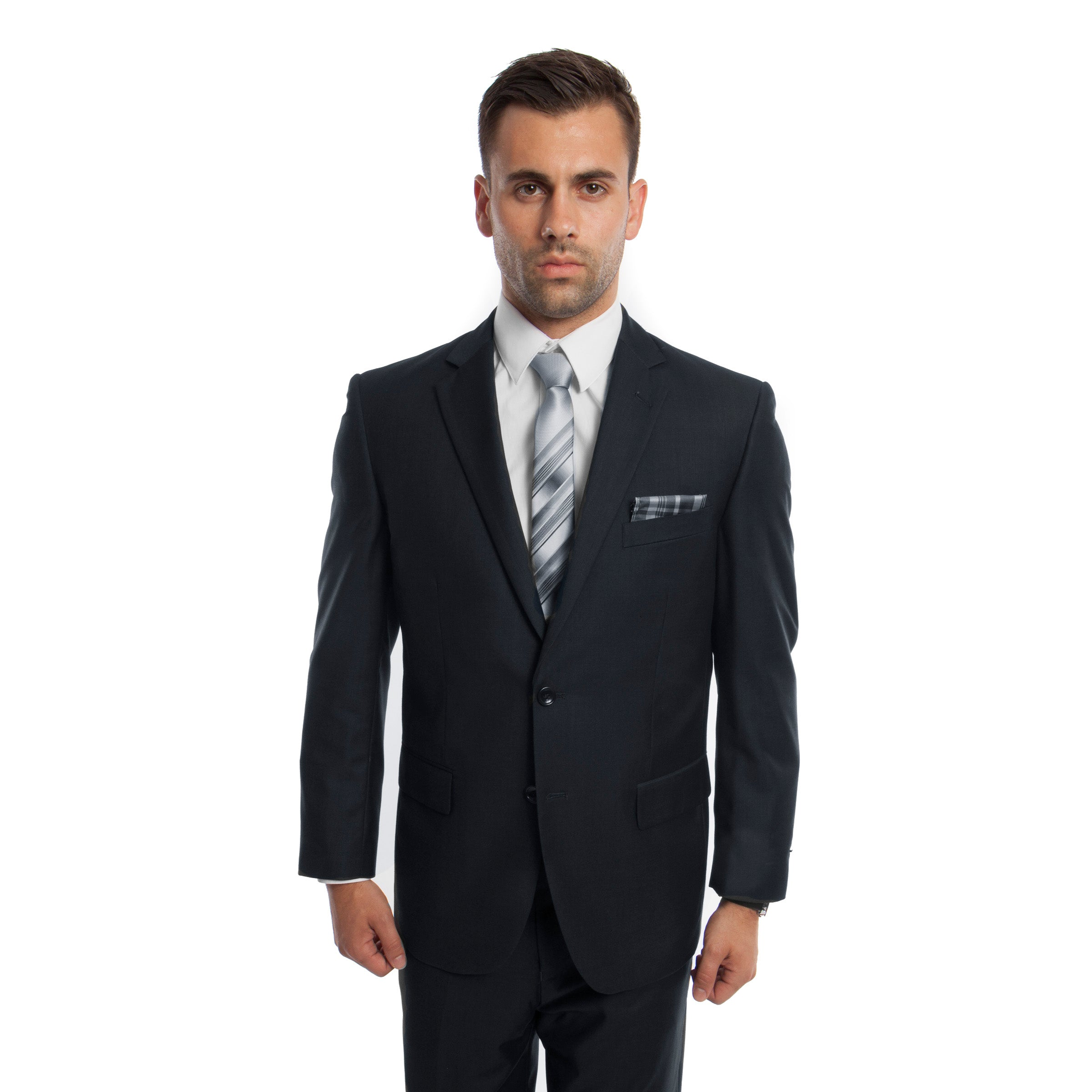 Dk. Navy Solid Mens Suit 2-PC Regular Modern Fit Suits For Men