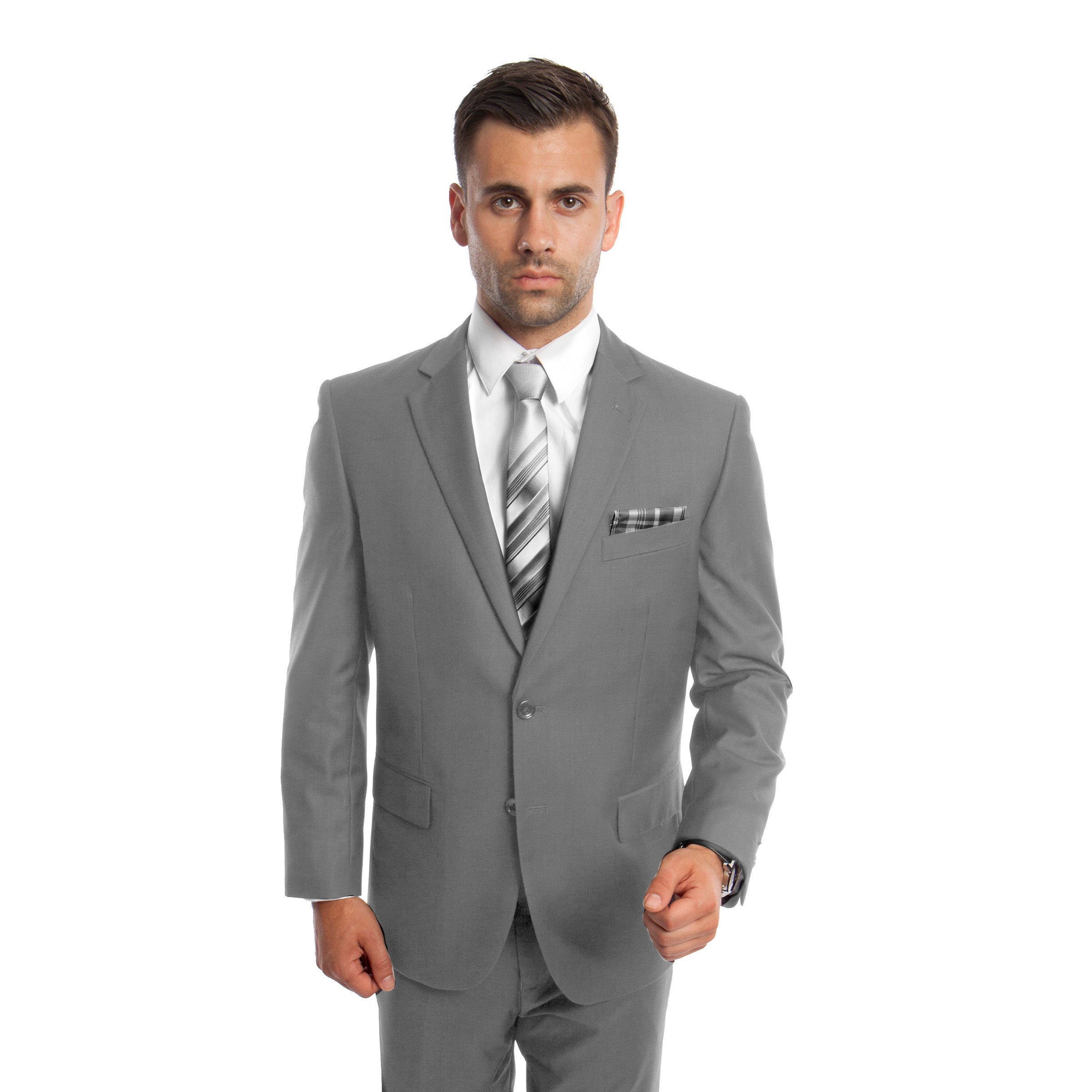 Lt. Gray Solid Mens Suit 2-PC Regular Modern Fit Suits For Men