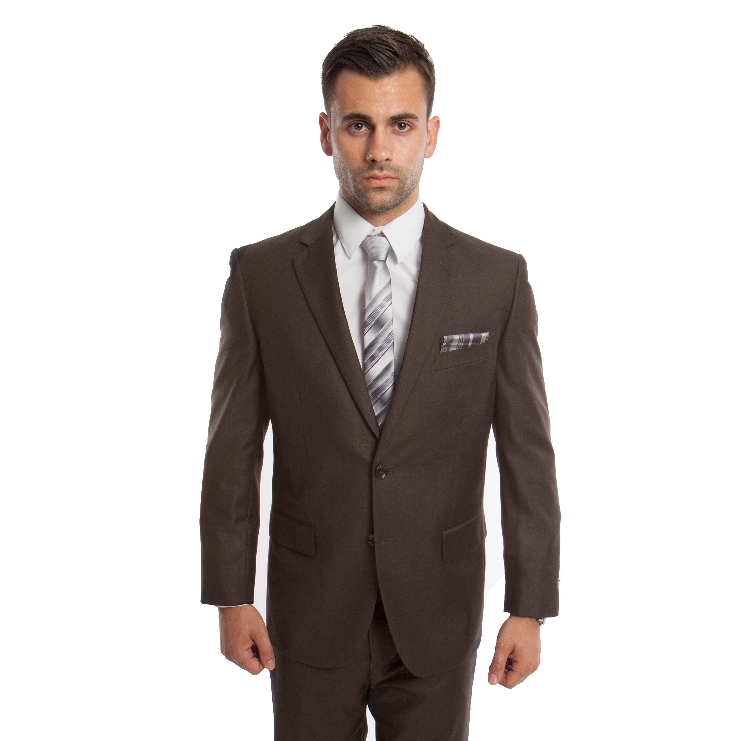 Dk. Taupe Solid Mens Suit 2-PC Regular Modern Fit Suits For Men