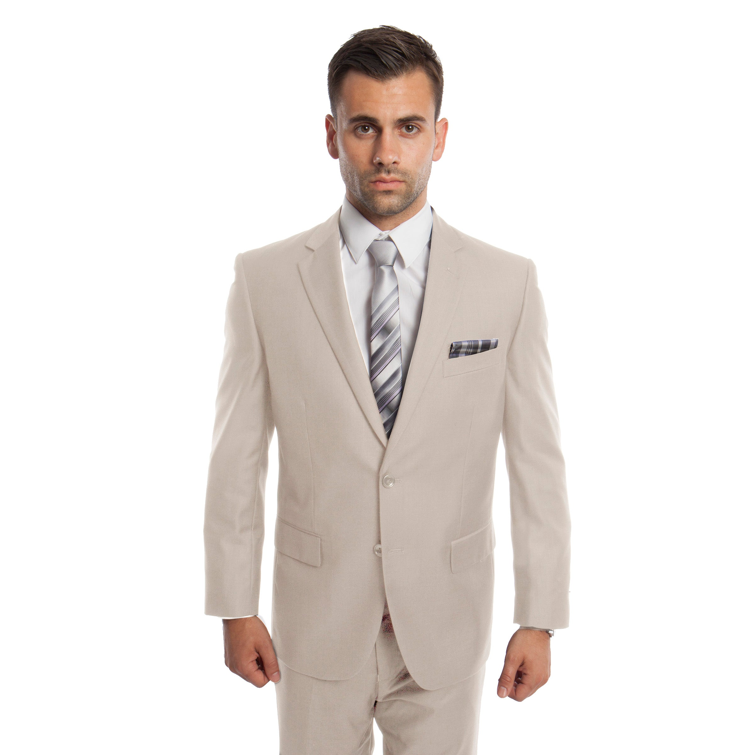 Tan Solid Mens Suit 2-PC Regular Modern Fit Suits For Men