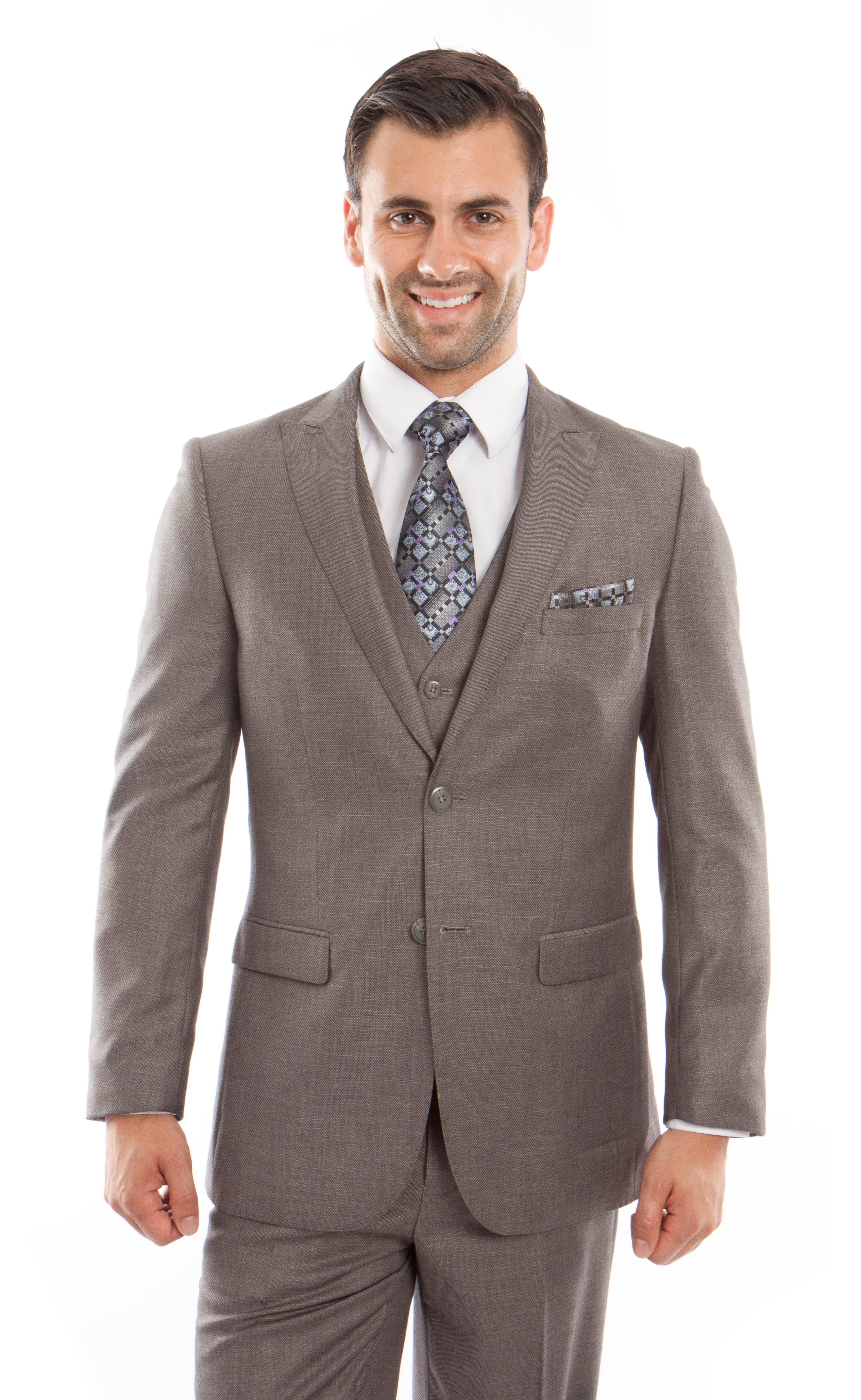 Mid. Taupe 3-PC Slim Fit Stretch Suits For Men