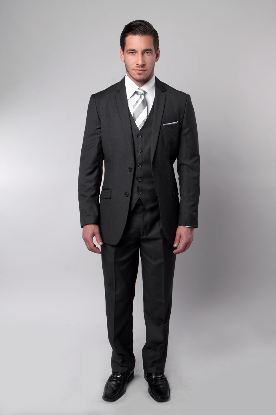Black Pinstripe Tone on Tone 3-PC Slim Fit Stretch Suits For Men