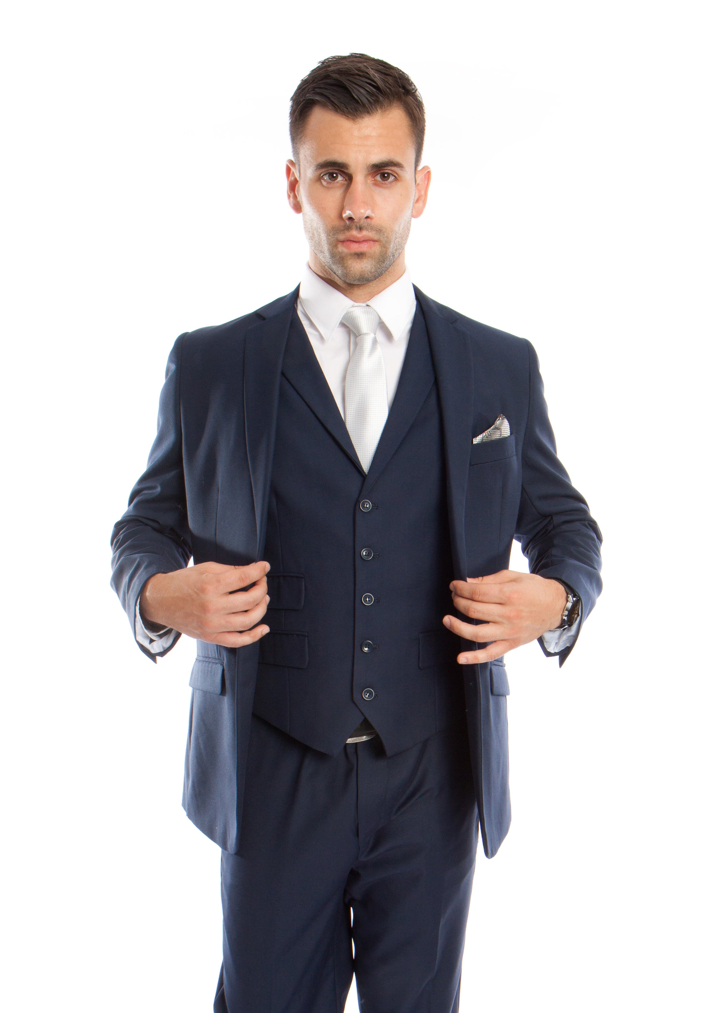 Navy Solid 3-PC Slim Fit Performence Stretch Suits For Men