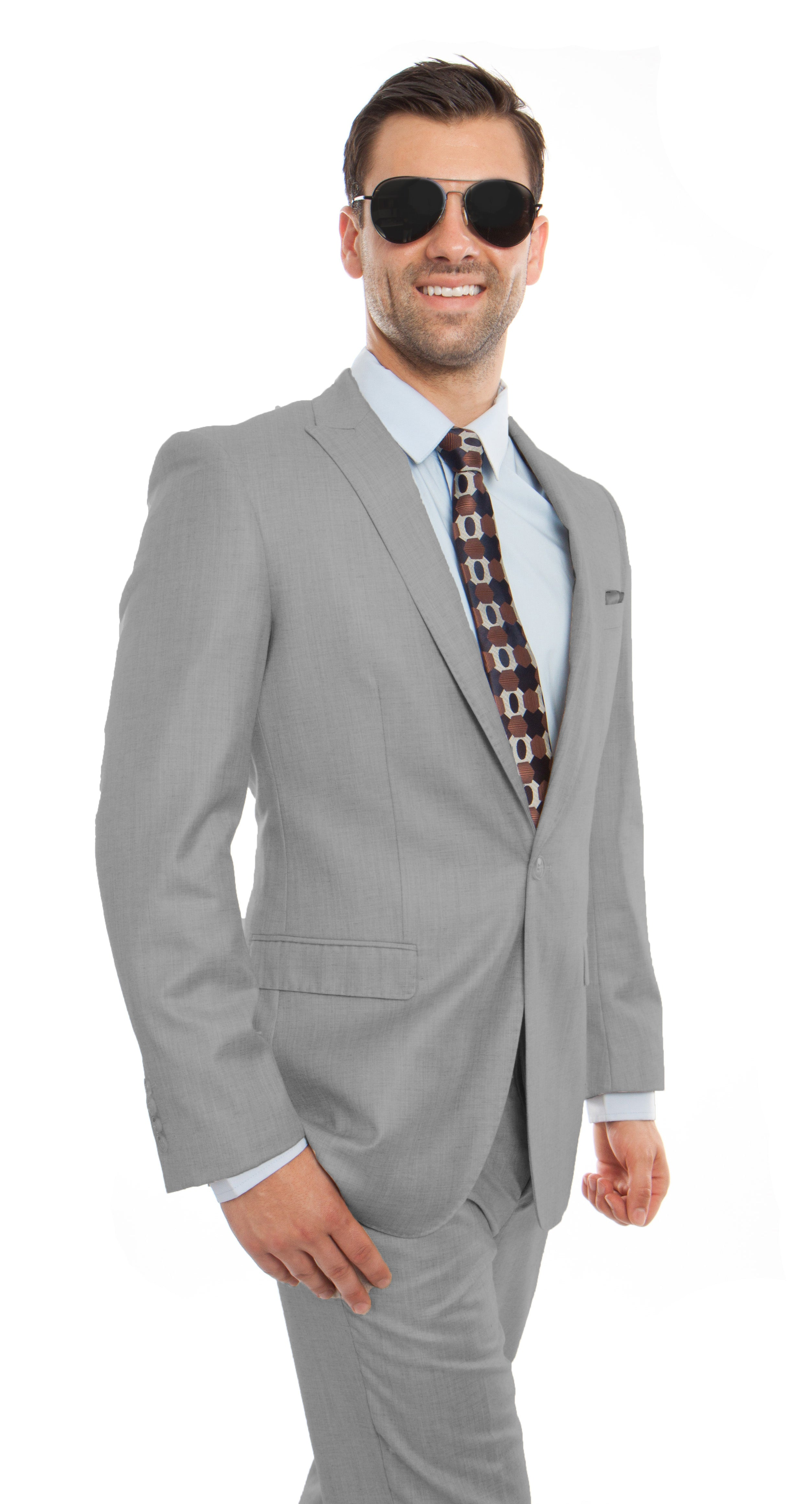Melange Gray 2-PC Slim Fit Stretch Suits For Men