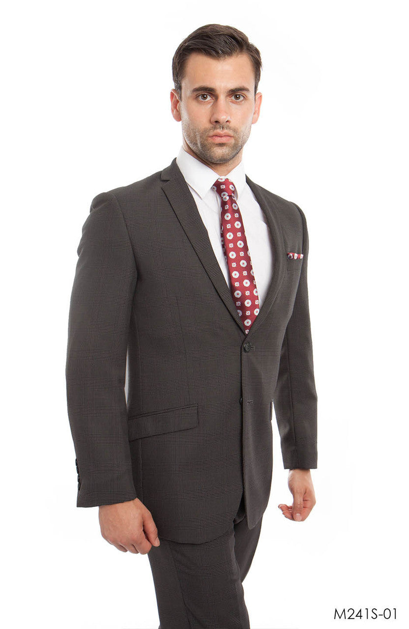 Dark Gray Textured 2-PC Slim Fit Performence Stretch Suits For Men