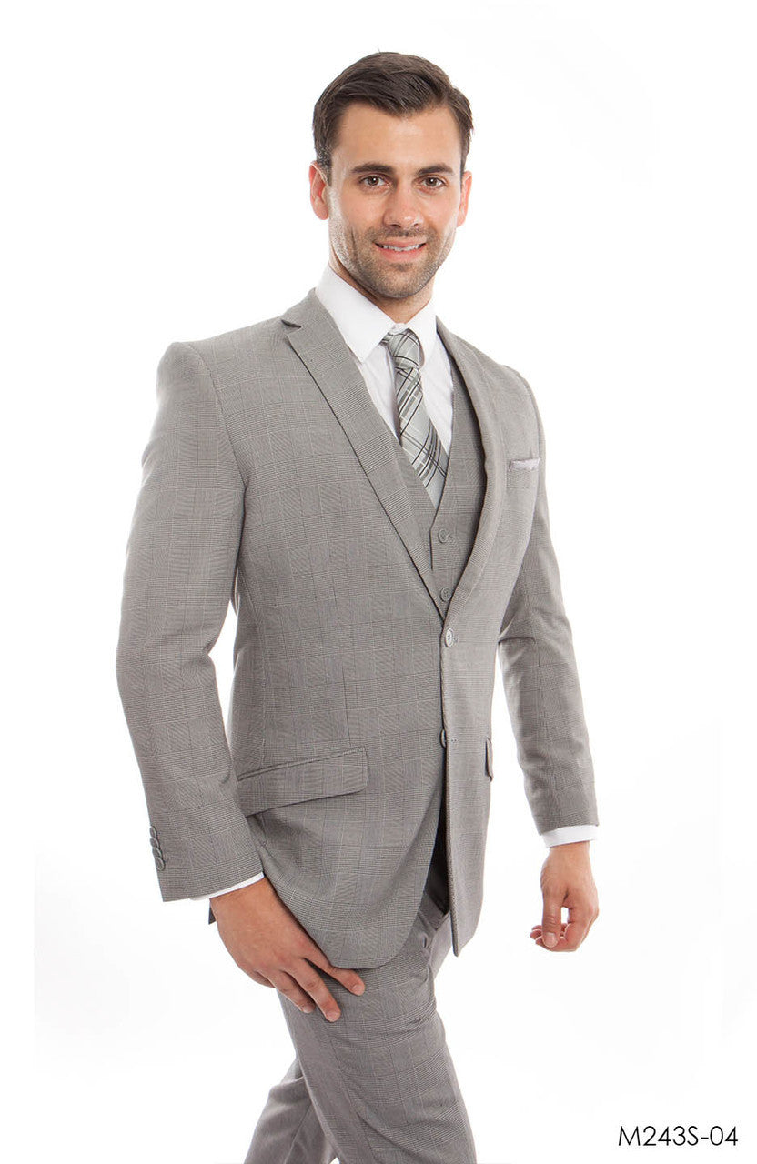 Dk. Gray 3-PC Slim Fit Stretch Suits For Men