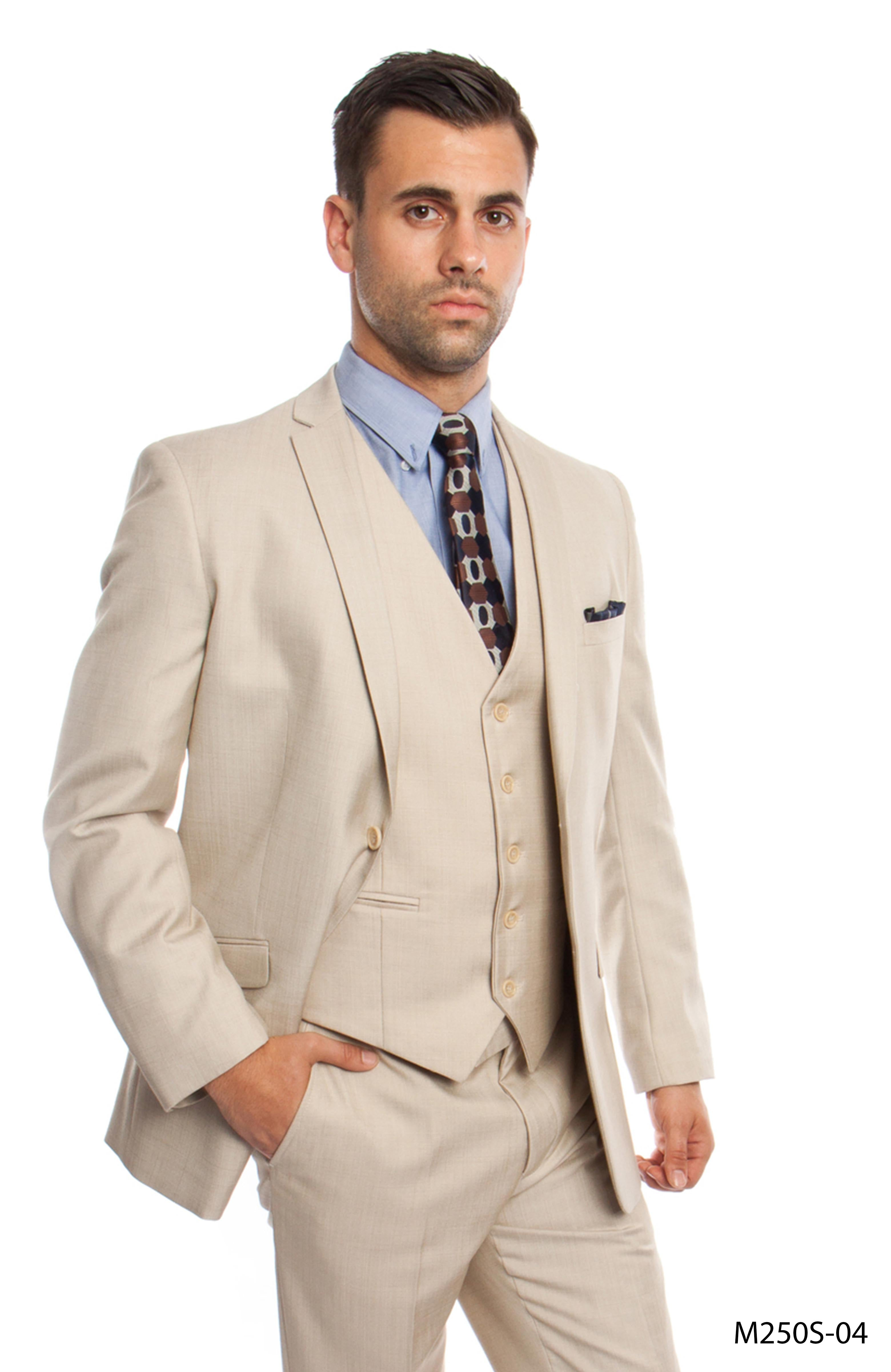 Tan 3-PC Slim Fit Performance Stretch Suits For Men