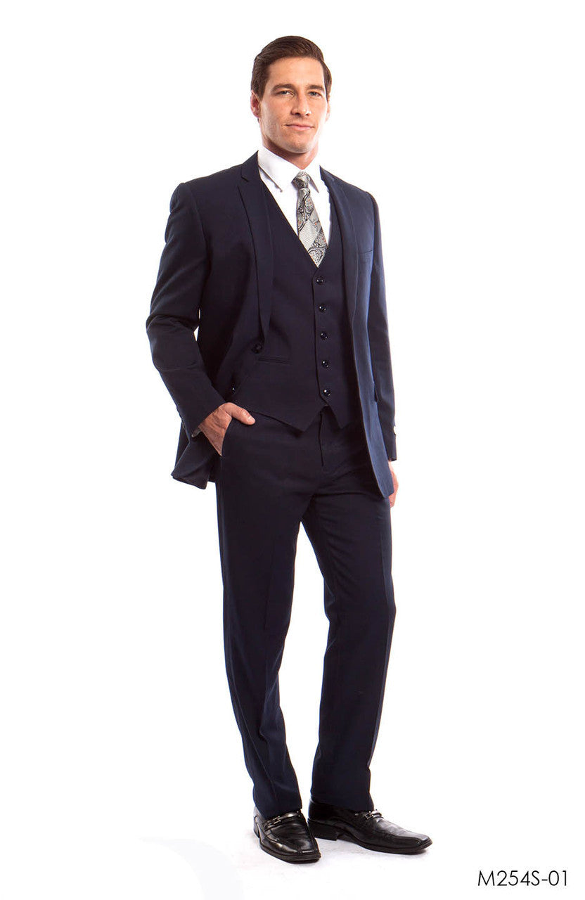 Navy Solid 3-PC Slim Fit Suits For Men
