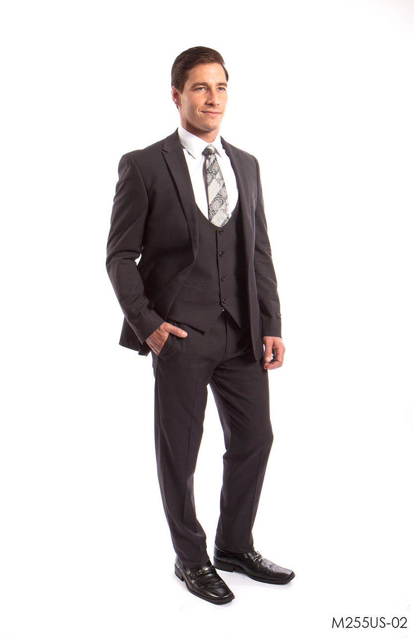 Gray Solid 3-PC Ultra Slim Fit Suits For Men