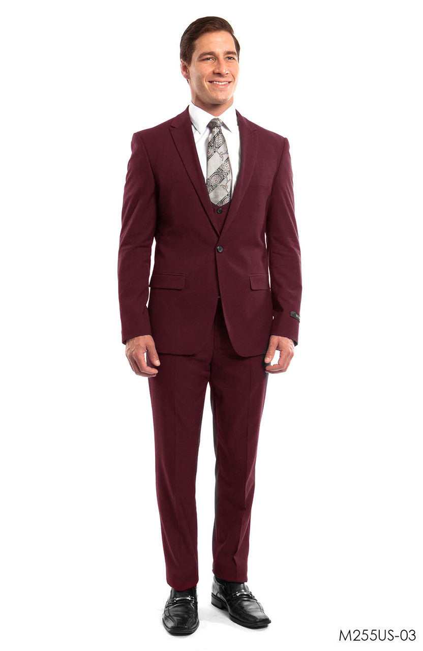Burgundy Solid 3-PC Ultra Slim Fit Suits For Men