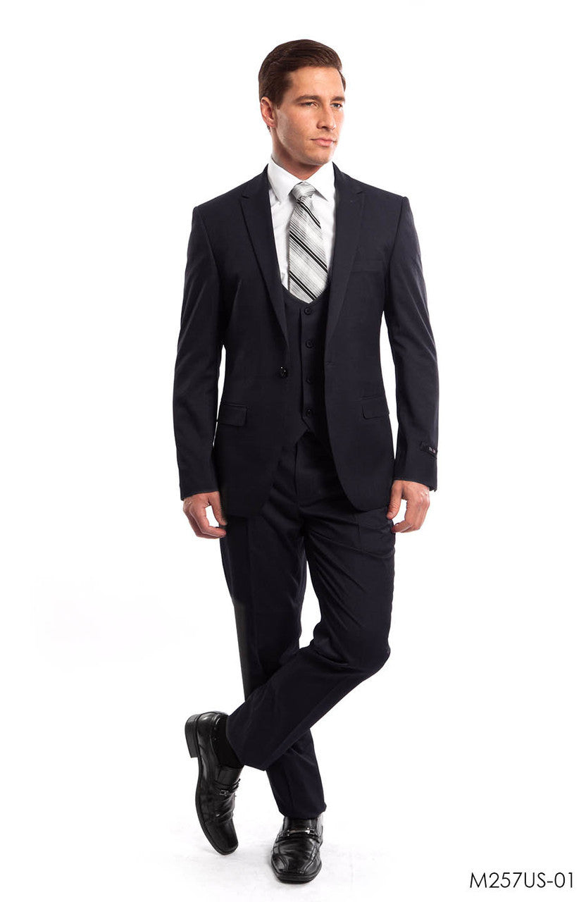 Navy Solid 3-PC Ultra Slim Fit Suits For Men