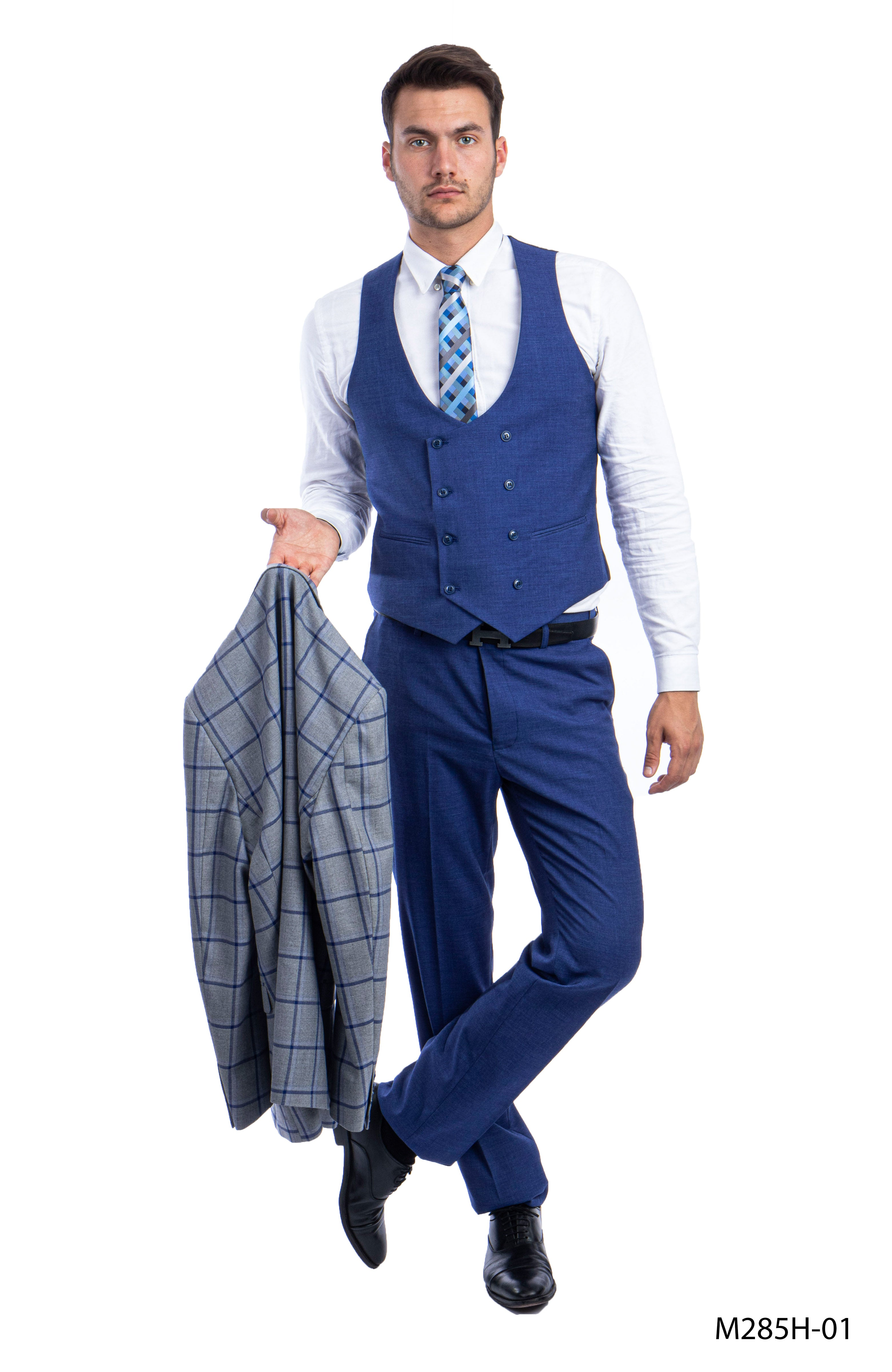 Gray/Blue Suit For Men Formal Suits For All Ocassions