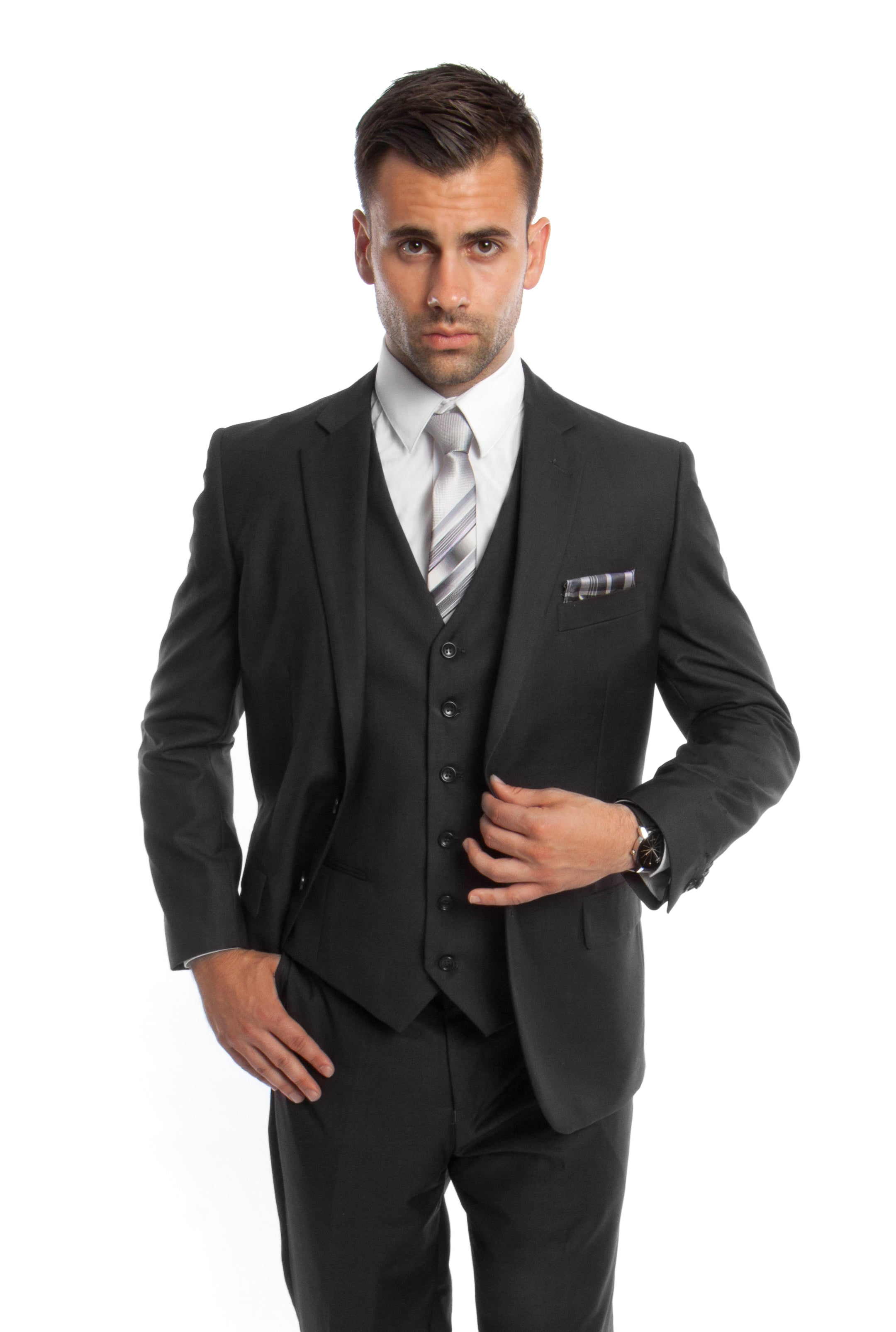 Black Solid 3-PC Modern Fit Suits For Men