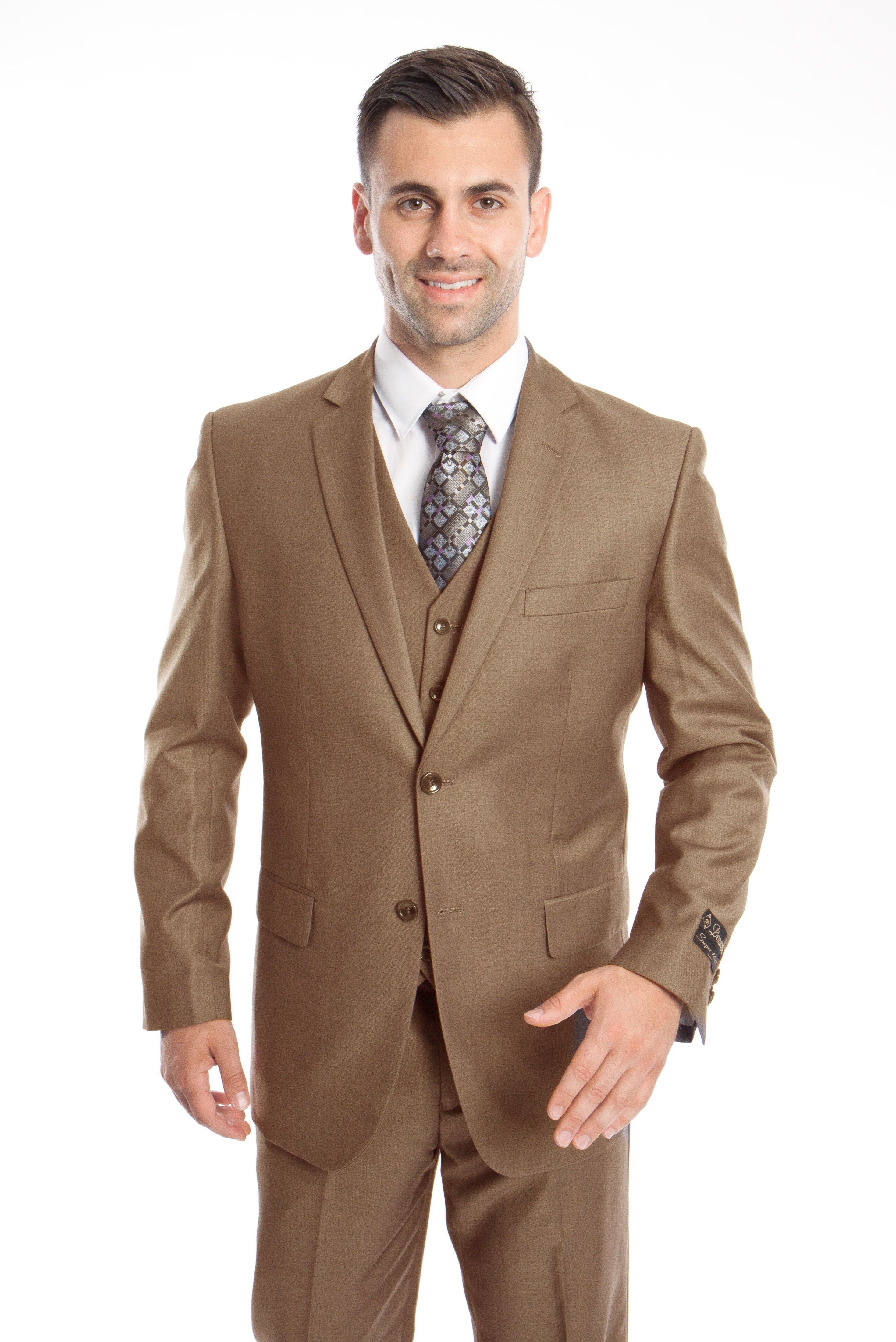 Dk. Taupe Solid 3-PC Modern Fit Suits For Men