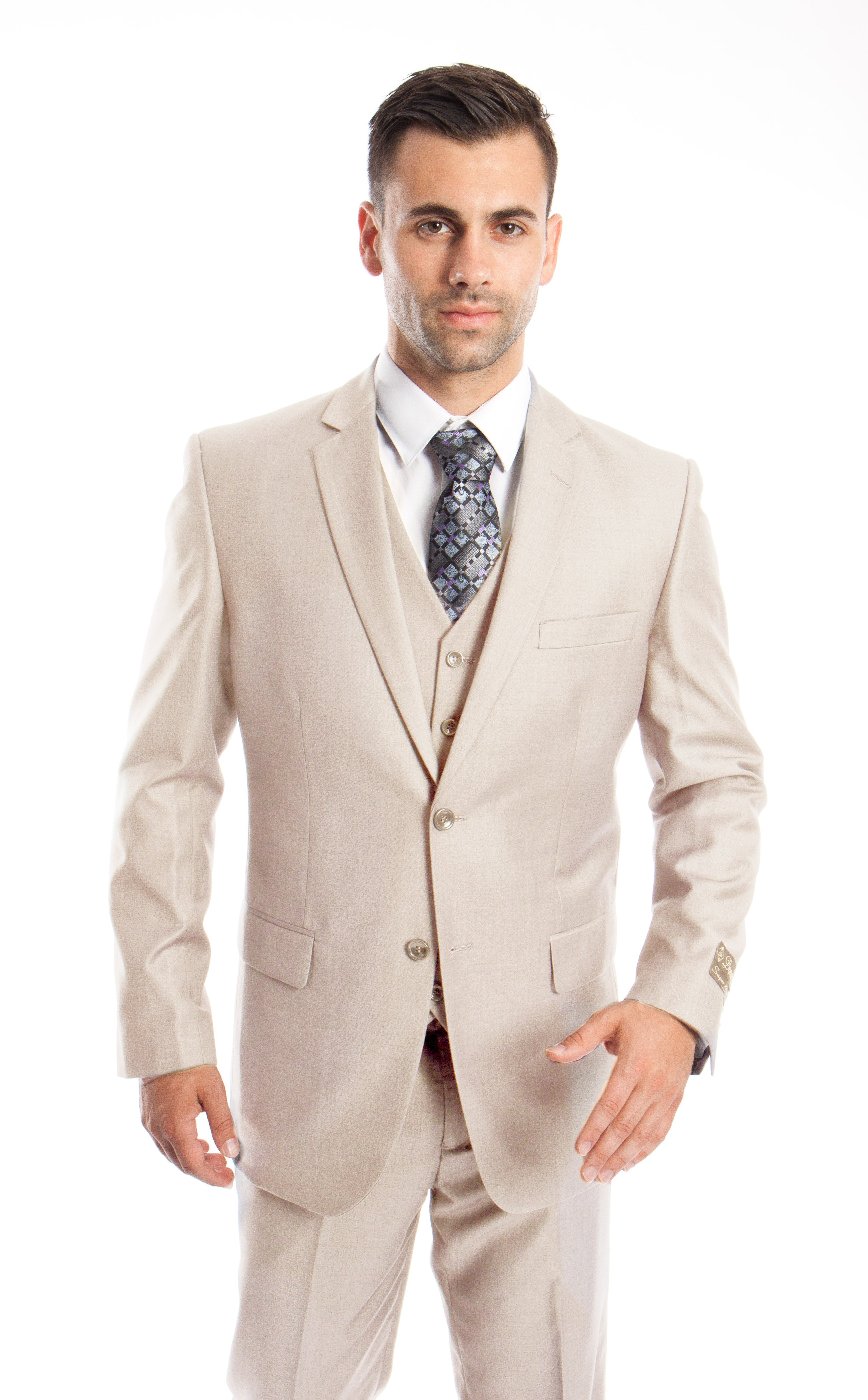 Tan Solid 3-PC Modern Fit Suits For Men